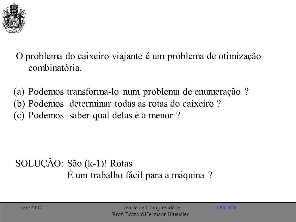 TECMFJan/2004 Teoria de Complexidade Prof. Edward Hermann Haeusler O problema do caixeiro viajante é um problema de otimização combinatória. (a)Podemo