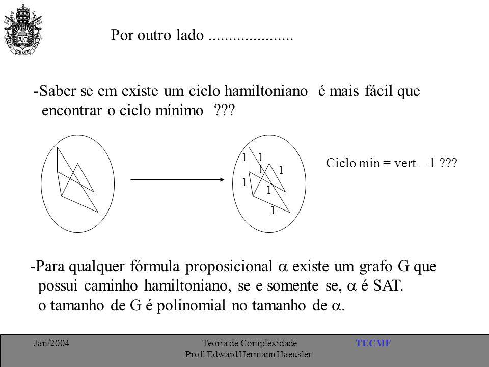 TECMFJan/2004 Teoria de Complexidade Prof. Edward Hermann Haeusler Por outro lado..................... -Saber se em existe um ciclo hamiltoniano é mai
