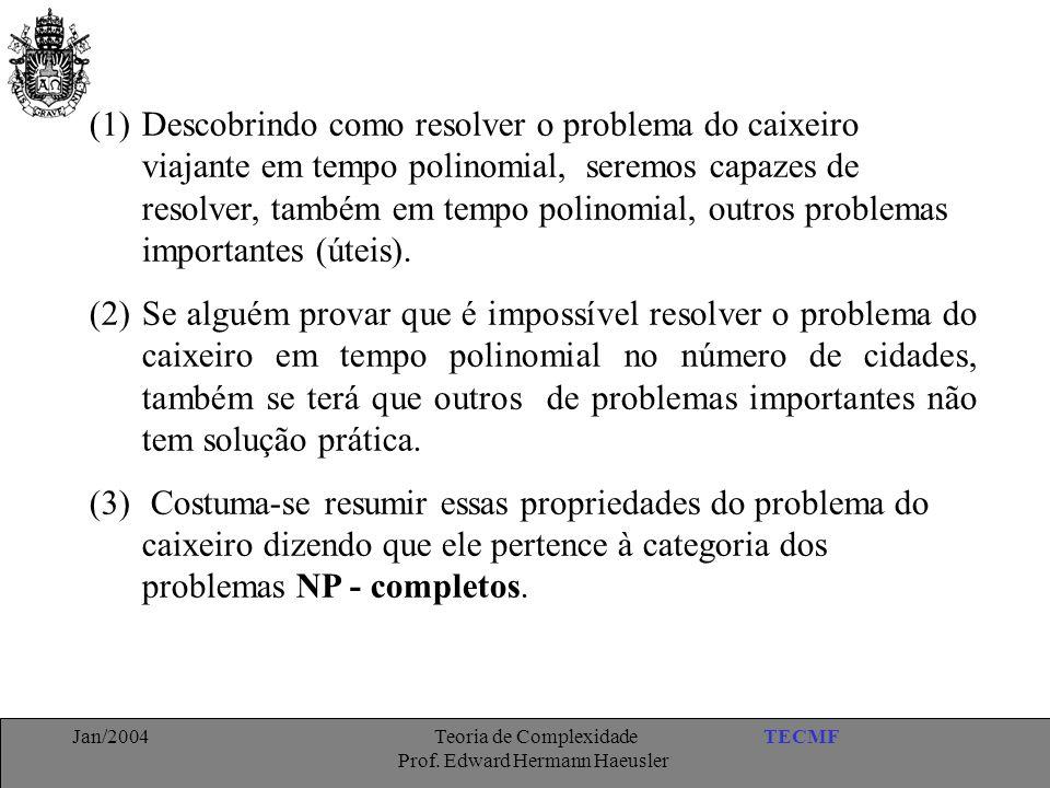 TECMFJan/2004 Teoria de Complexidade Prof. Edward Hermann Haeusler (1)Descobrindo como resolver o problema do caixeiro viajante em tempo polinomial, s