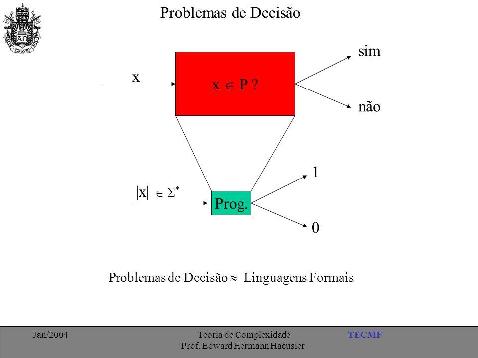TECMFJan/2004 Teoria de Complexidade Prof. Edward Hermann Haeusler Problemas de Decisão x  P ? x sim não Prog. |x|   * 1 0 Problemas de Decisão  L