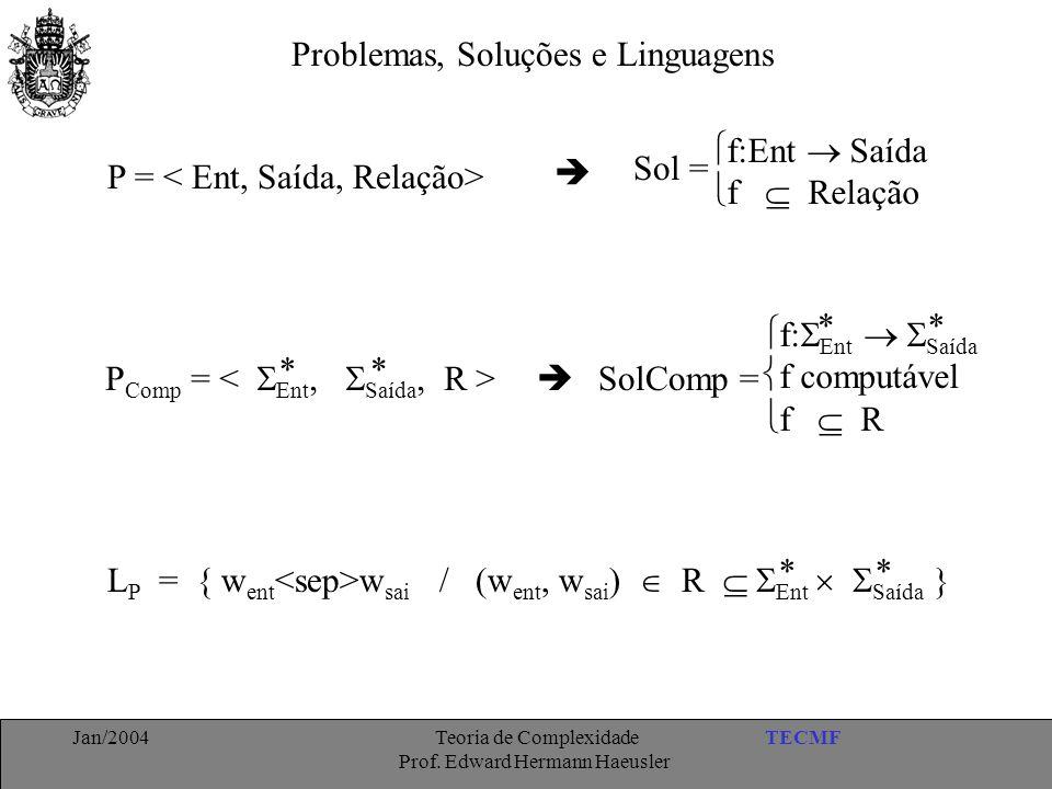 TECMFJan/2004 Teoria de Complexidade Prof. Edward Hermann Haeusler Problemas, Soluções e Linguagens P = P Comp =   f:Ent  Saída  f  Relação Sol
