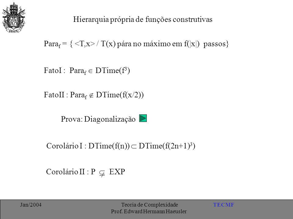 TECMFJan/2004 Teoria de Complexidade Prof. Edward Hermann Haeusler Hierarquia própria de funções construtivas Para f = { / T(x) pára no máximo em f(|x
