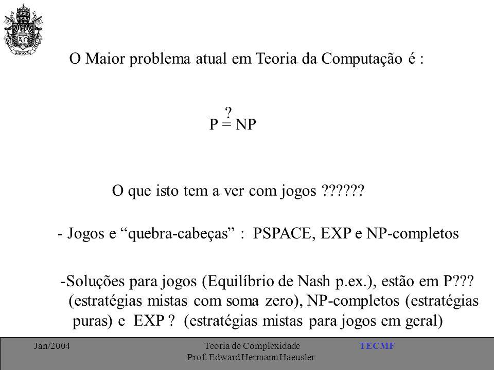 TECMFJan/2004 Teoria de Complexidade Prof. Edward Hermann Haeusler O Maior problema atual em Teoria da Computação é : P = NP ? O que isto tem a ver co