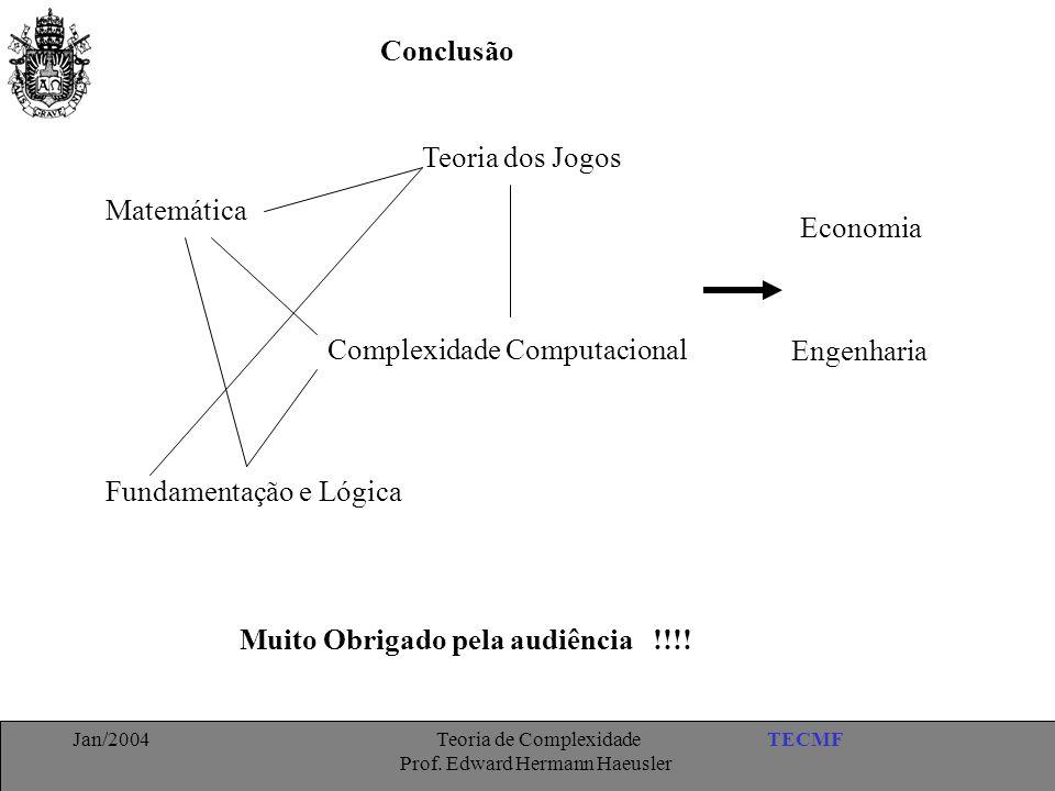 TECMFJan/2004 Teoria de Complexidade Prof. Edward Hermann Haeusler Muito Obrigado pela audiência !!!! Conclusão Complexidade Computacional Matemática