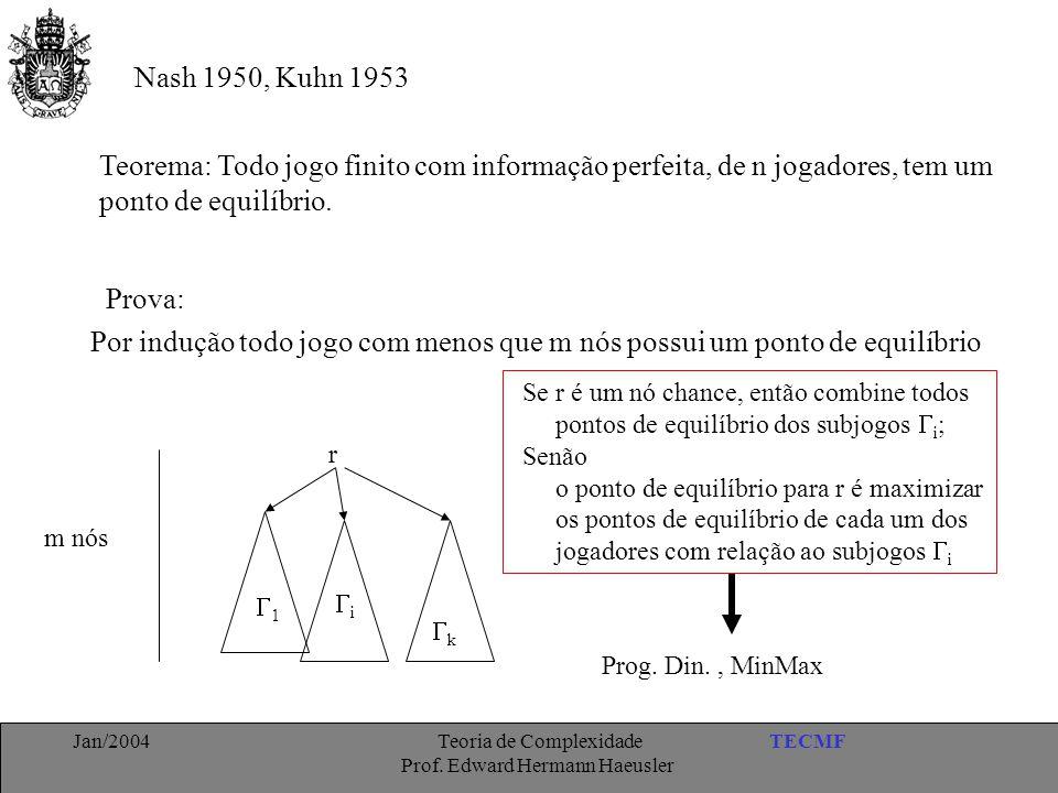 TECMFJan/2004 Teoria de Complexidade Prof. Edward Hermann Haeusler Nash 1950, Kuhn 1953 Teorema: Todo jogo finito com informação perfeita, de n jogado