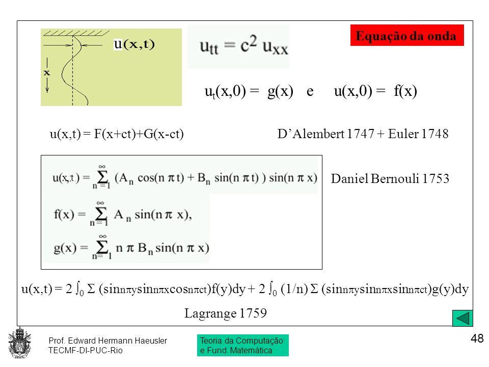 Prof. Edward Hermann Haeusler TECMF-DI-PUC-Rio Teoria da Computação: e Fund. Matemática 48 Daniel Bernouli 1753 u(x,t) = F(x+ct)+G(x-ct) D'Alembert 17