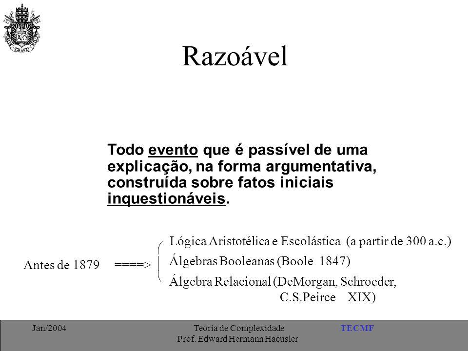 TECMFJan/2004 Teoria de Complexidade Prof. Edward Hermann Haeusler Razoável Todo evento que é passível de uma explicação, na forma argumentativa, cons