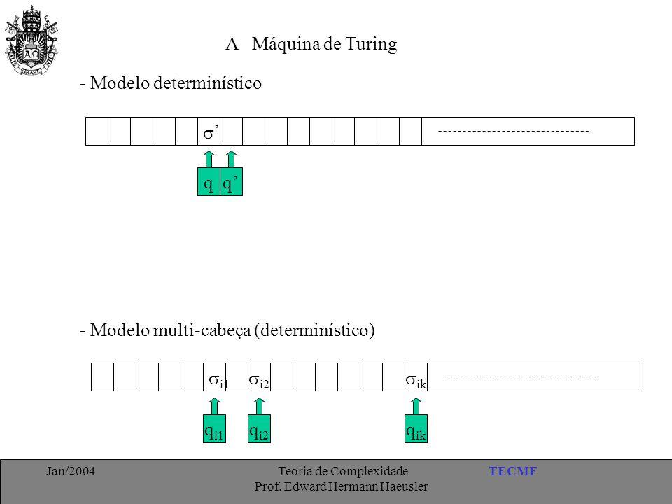TECMFJan/2004 Teoria de Complexidade Prof. Edward Hermann Haeusler A Máquina de Turing - Modelo determinístico q  q' ' - Modelo multi-cabeça (determi
