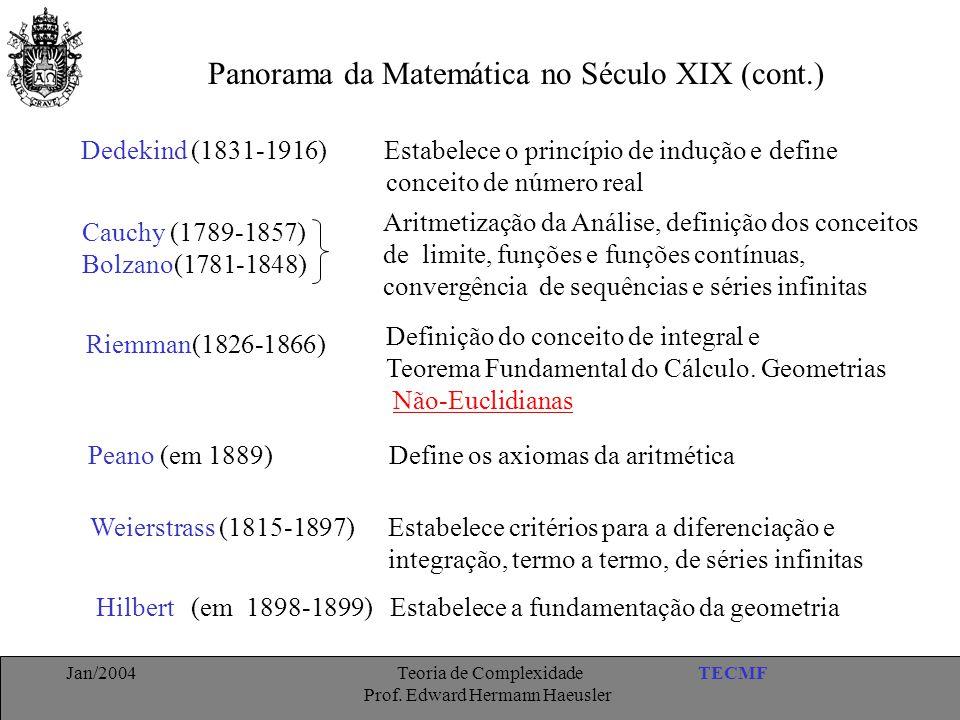 TECMFJan/2004 Teoria de Complexidade Prof. Edward Hermann Haeusler Panorama da Matemática no Século XIX (cont.) Dedekind (1831-1916) Estabelece o prin