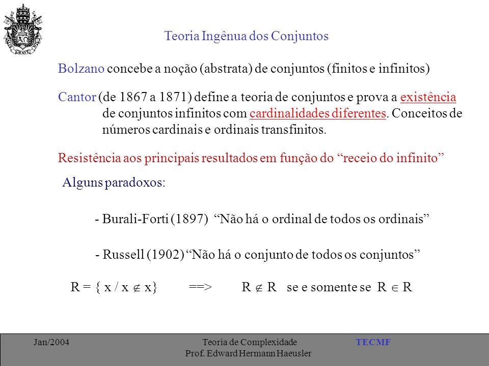 TECMFJan/2004 Teoria de Complexidade Prof. Edward Hermann Haeusler Teoria Ingênua dos Conjuntos Cantor (de 1867 a 1871) define a teoria de conjuntos e