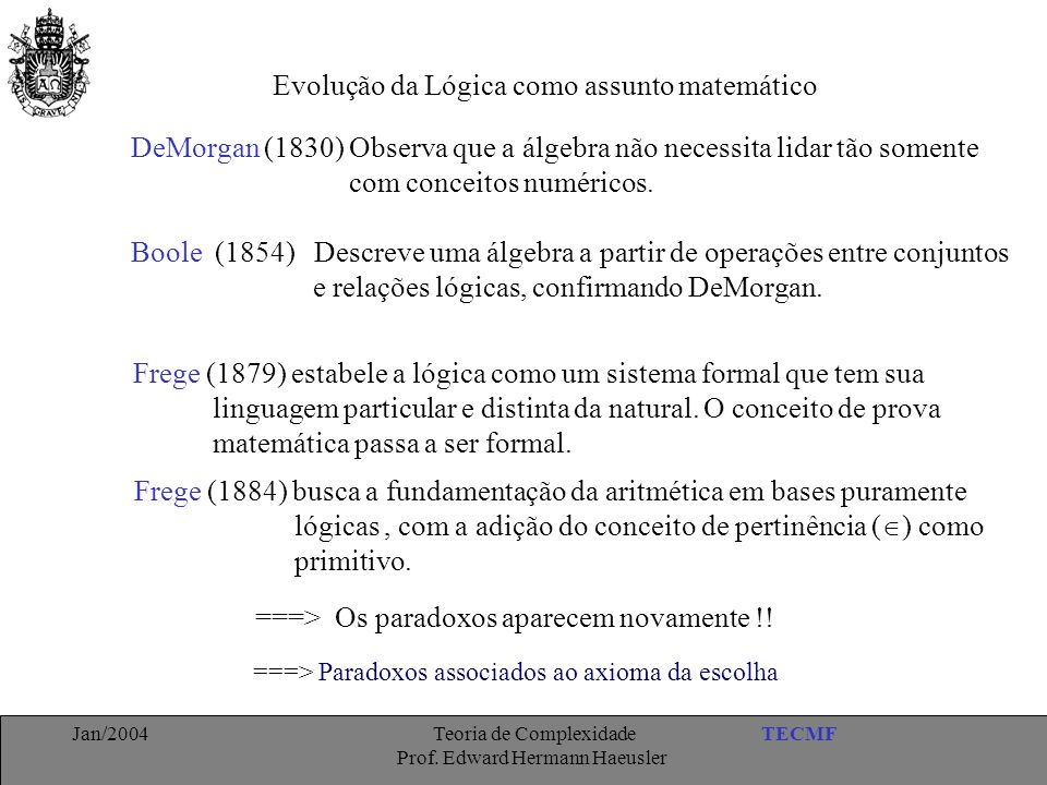 TECMFJan/2004 Teoria de Complexidade Prof. Edward Hermann Haeusler Evolução da Lógica como assunto matemático Frege (1879) estabele a lógica como um s