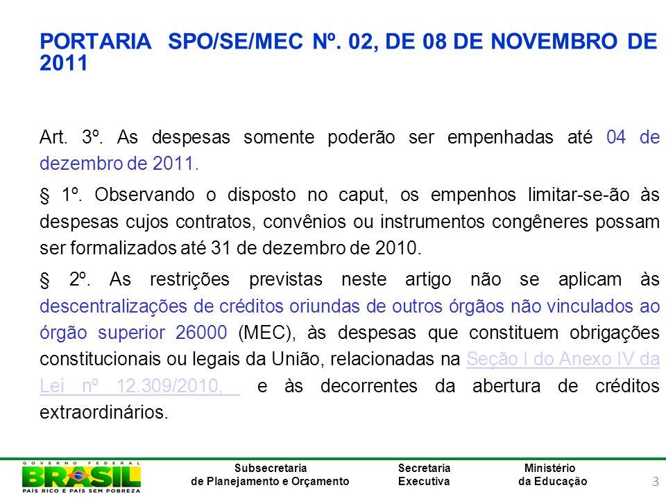 3 Ministério da Educação Subsecretaria de Planejamento e Orçamento Secretaria Executiva PORTARIA SPO/SE/MEC Nº. 02, DE 08 DE NOVEMBRO DE 2011 Art. 3º.
