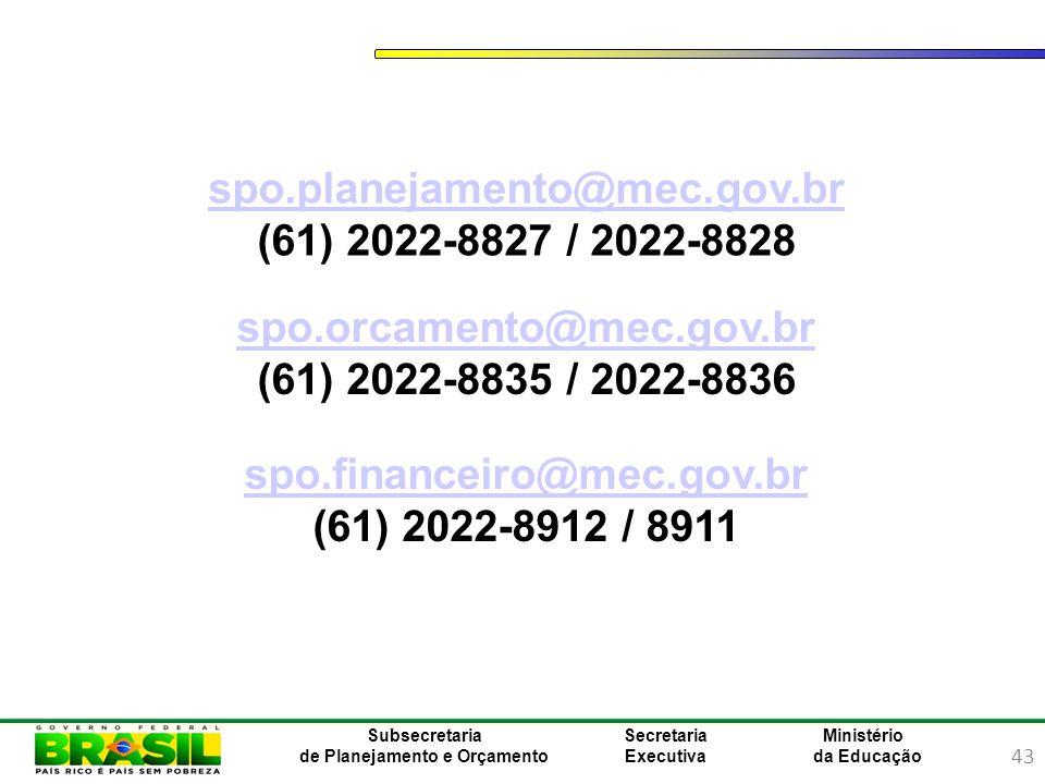 43 Ministério da Educação Subsecretaria de Planejamento e Orçamento Secretaria Executiva spo.orcamento@mec.gov.bro.orcamento@mec.gov.br (61) 2022-8835