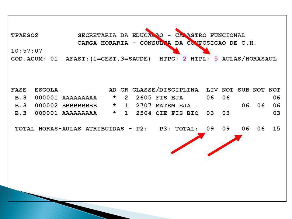TPAESO2 SECRETARIA DA EDUCACAO - CADASTRO FUNCIONAL CARGA HORARIA - CONSULTA DA COMPOSICAO DE C.H. 10:57:07 COD.ACUM: 01 AFAST:(1=GEST,3=SAUDE) HTPC: