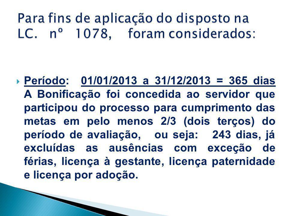  Período: 01/01/2013 a 31/12/2013 = 365 dias A Bonificação foi concedida ao servidor que participou do processo para cumprimento das metas em pelo me
