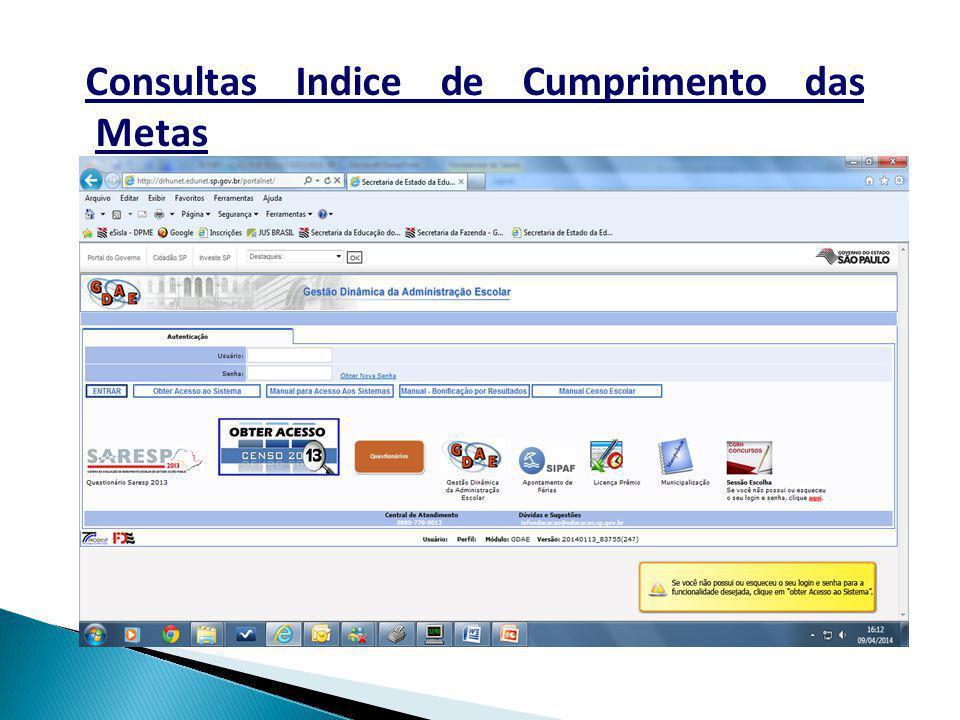 Consultas Indice de Cumprimento das Metas
