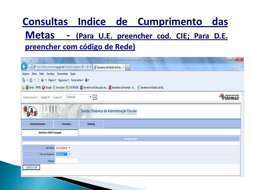 Consultas Indice de Cumprimento das Metas - (Para U.E. preencher cod. CIE; Para D.E. preencher com código de Rede)