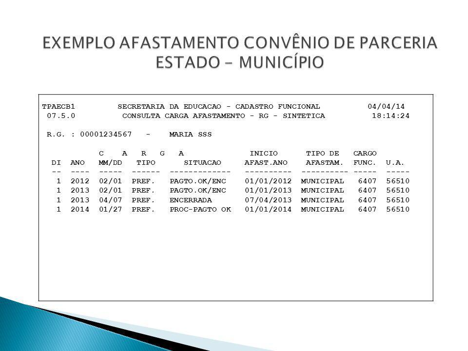 TPAECB1 SECRETARIA DA EDUCACAO - CADASTRO FUNCIONAL 04/04/14 07.5.0 CONSULTA CARGA AFASTAMENTO - RG - SINTETICA 18:14:24 R.G. : 00001234567 - MARIA SS