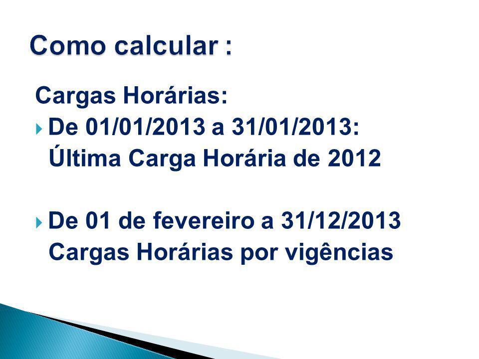 Cargas Horárias:  De 01/01/2013 a 31/01/2013: Última Carga Horária de 2012  De 01 de fevereiro a 31/12/2013 Cargas Horárias por vigências