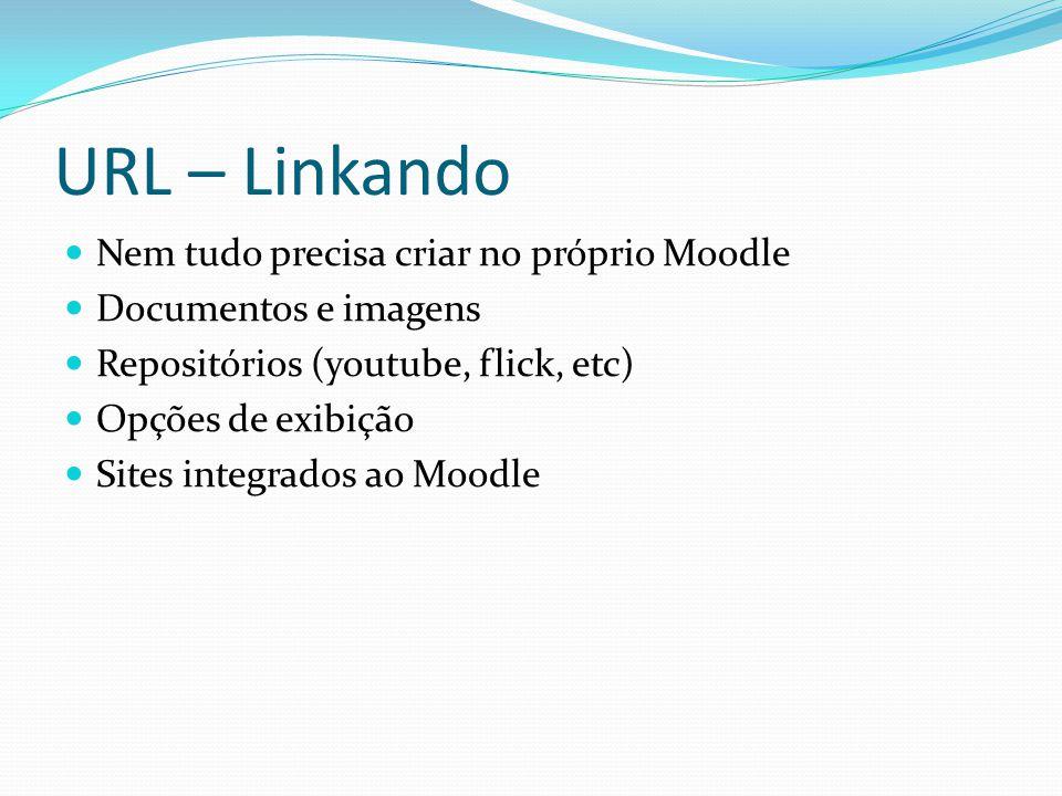 URL – Linkando Nem tudo precisa criar no próprio Moodle Documentos e imagens Repositórios (youtube, flick, etc) Opções de exibição Sites integrados ao Moodle