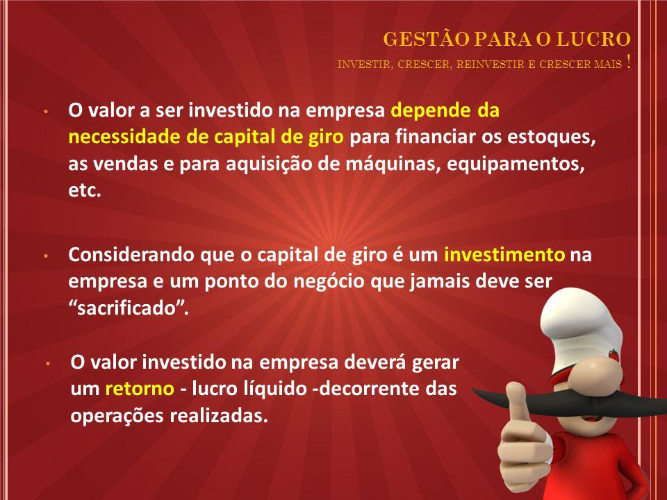 O valor a ser investido na empresa depende da necessidade de capital de giro para financiar os estoques, as vendas e para aquisição de máquinas, equipamentos, etc.