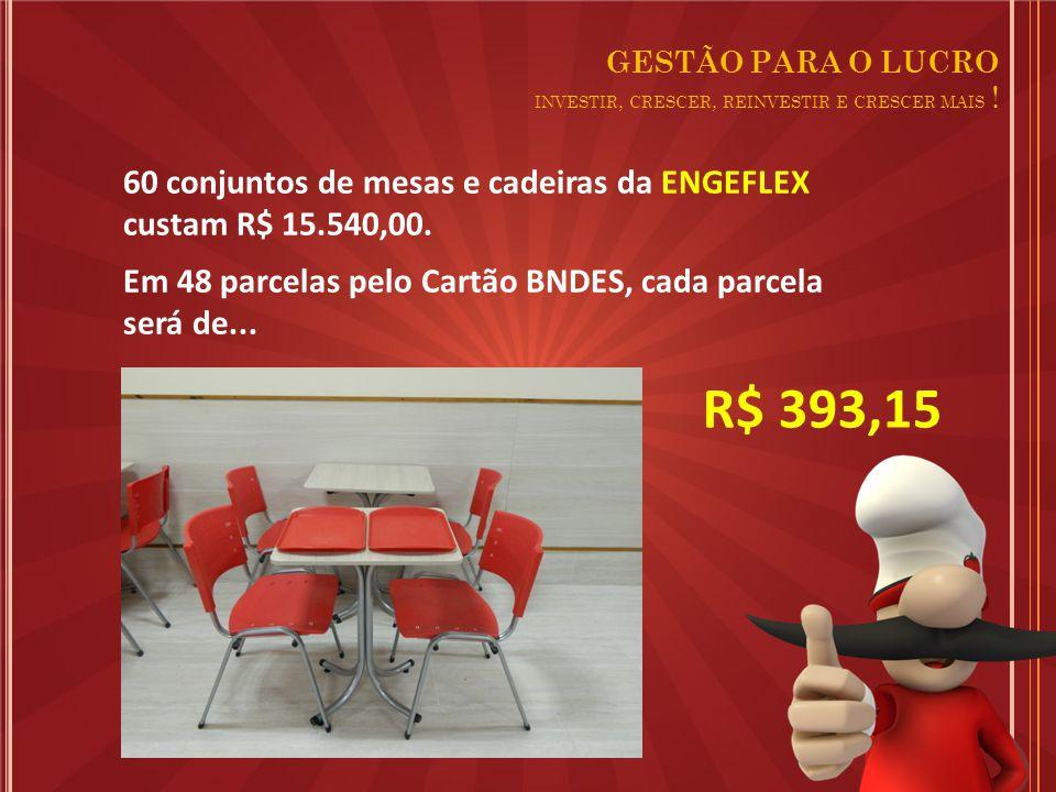 R$ 393,15 60 conjuntos de mesas e cadeiras da ENGEFLEX custam R$ 15.540,00.