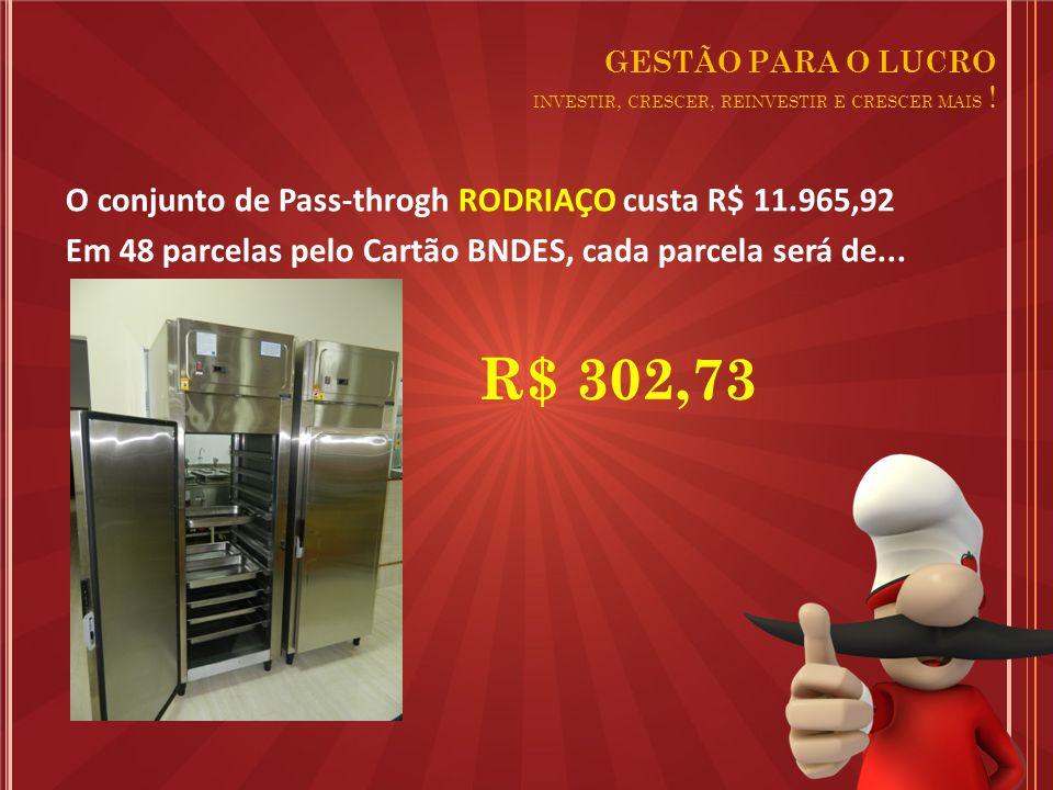 O conjunto de Pass-throgh RODRIAÇO custa R$ 11.965,92 Em 48 parcelas pelo Cartão BNDES, cada parcela será de...