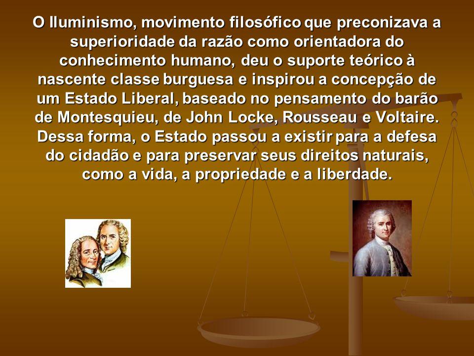 O Iluminismo, movimento filosófico que preconizava a superioridade da razão como orientadora do conhecimento humano, deu o suporte teórico à nascente