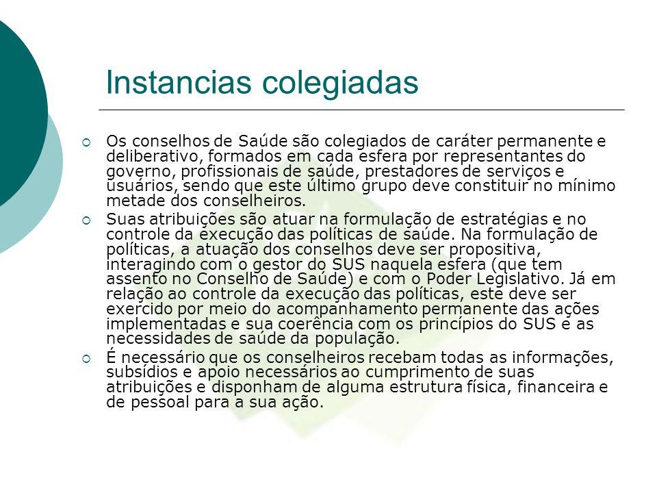Instancias colegiadas  Os conselhos de Saúde são colegiados de caráter permanente e deliberativo, formados em cada esfera por representantes do gover