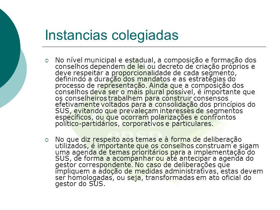 Instancias colegiadas  No nível municipal e estadual, a composição e formação dos conselhos dependem de lei ou decreto de criação próprios e deve res