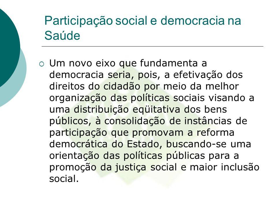 Participação social e democracia na Saúde  Um novo eixo que fundamenta a democracia seria, pois, a efetivação dos direitos do cidadão por meio da mel