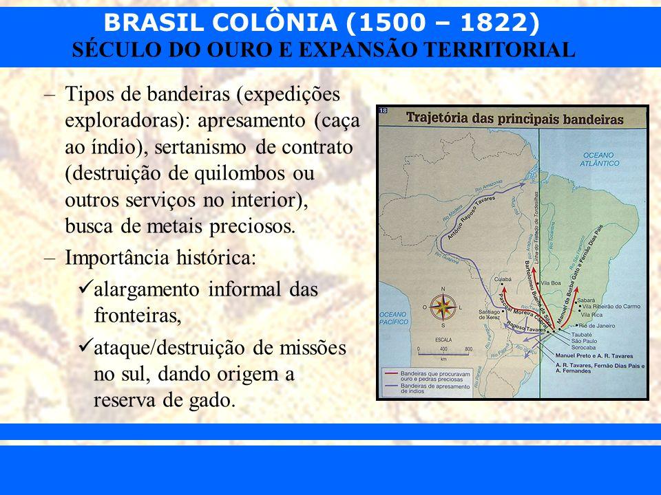 BRASIL COLÔNIA (1500 – 1822) Prof. Iair iair@pop.com.br SÉCULO DO OURO E EXPANSÃO TERRITORIAL –Tipos de bandeiras (expedições exploradoras): apresamen