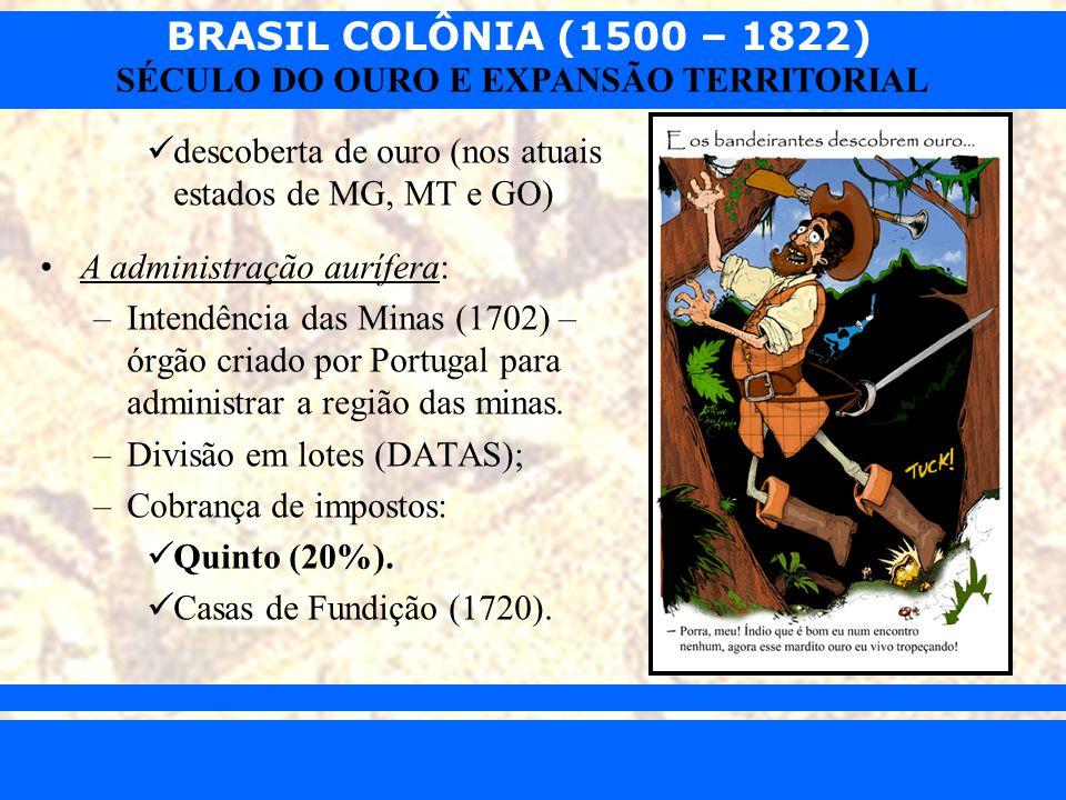 BRASIL COLÔNIA (1500 – 1822) Prof. Iair iair@pop.com.br SÉCULO DO OURO E EXPANSÃO TERRITORIAL descoberta de ouro (nos atuais estados de MG, MT e GO) A
