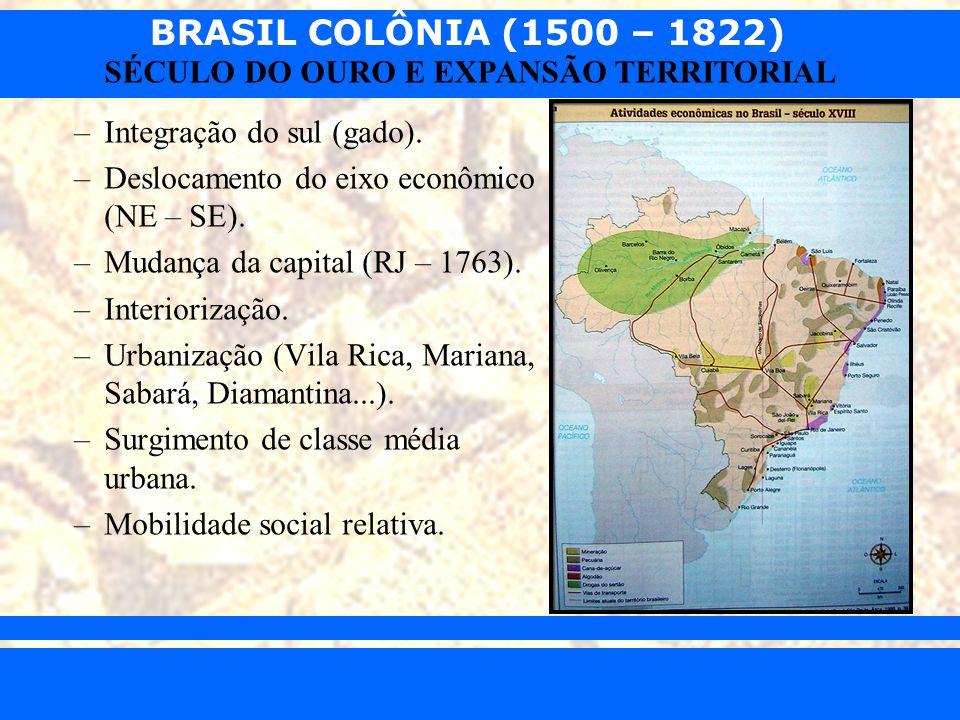 BRASIL COLÔNIA (1500 – 1822) Prof. Iair iair@pop.com.br SÉCULO DO OURO E EXPANSÃO TERRITORIAL –Integração do sul (gado). –Deslocamento do eixo econômi