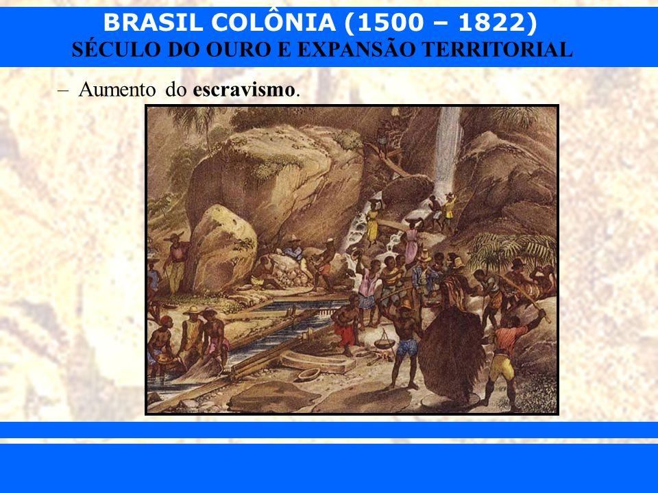 BRASIL COLÔNIA (1500 – 1822) Prof. Iair iair@pop.com.br SÉCULO DO OURO E EXPANSÃO TERRITORIAL –Aumento do escravismo.