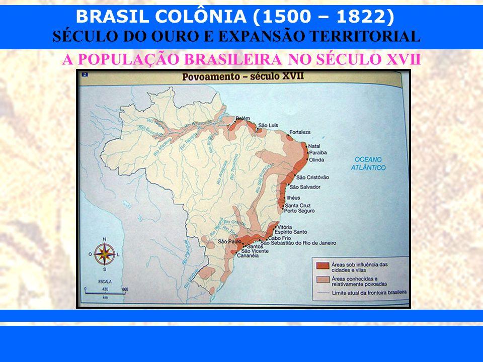 BRASIL COLÔNIA (1500 – 1822) Prof. Iair iair@pop.com.br SÉCULO DO OURO E EXPANSÃO TERRITORIAL A POPULAÇÃO BRASILEIRA NO SÉCULO XVII