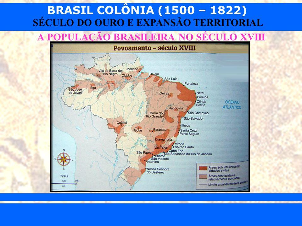 BRASIL COLÔNIA (1500 – 1822) Prof. Iair iair@pop.com.br SÉCULO DO OURO E EXPANSÃO TERRITORIAL A POPULAÇÃO BRASILEIRA NO SÉCULO XVIII