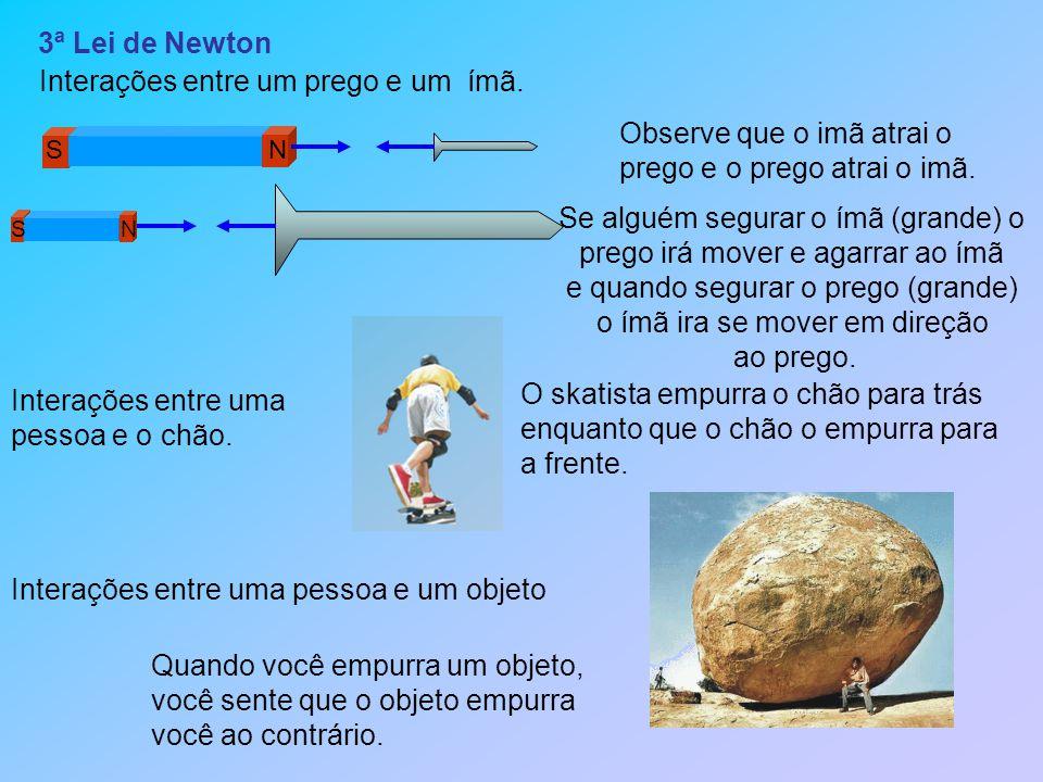 3ª Lei de Newton Observe que o imã atrai o prego e o prego atrai o imã.