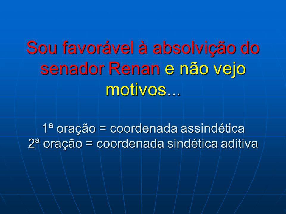 Sou favorável à absolvição do senador Renan e não vejo motivos...