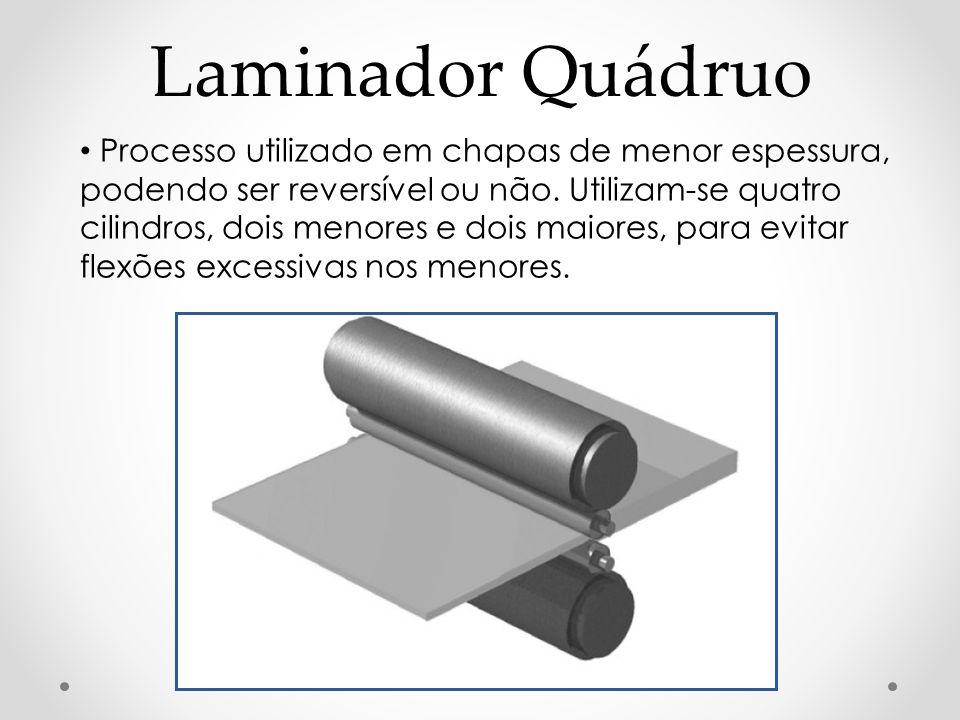 Laminador Quádruo Processo utilizado em chapas de menor espessura, podendo ser reversível ou não. Utilizam-se quatro cilindros, dois menores e dois ma