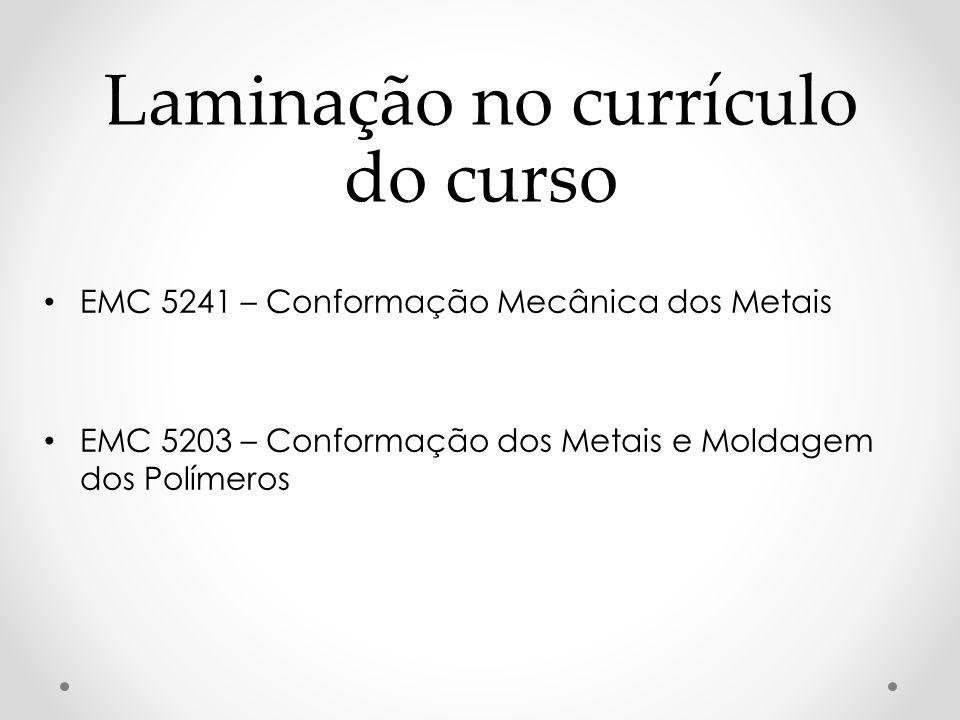 Laminação no currículo do curso EMC 5241 – Conformação Mecânica dos Metais EMC 5203 – Conformação dos Metais e Moldagem dos Polímeros