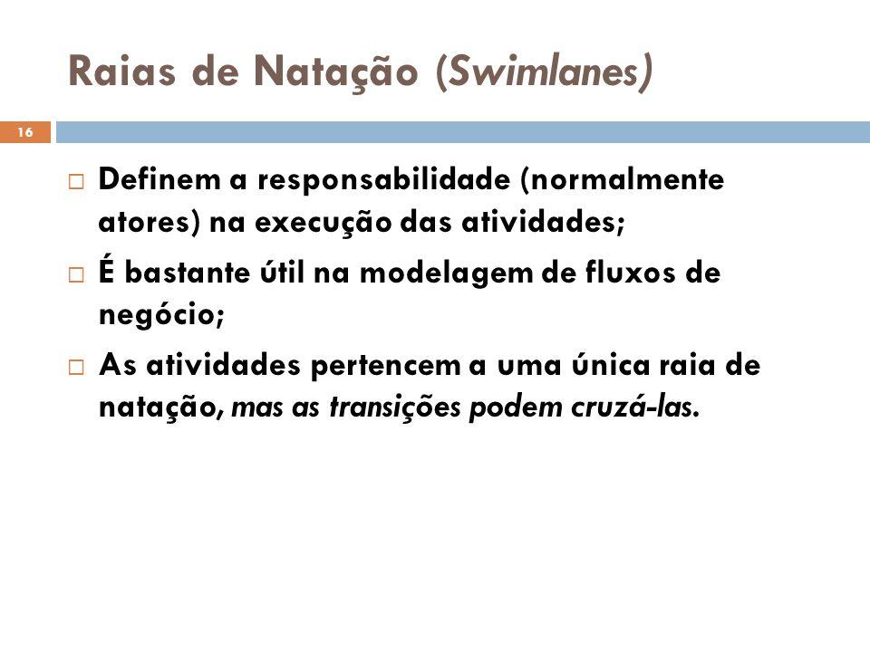 Raias de Natação (Swimlanes) 16  Definem a responsabilidade (normalmente atores) na execução das atividades;  É bastante útil na modelagem de fluxos