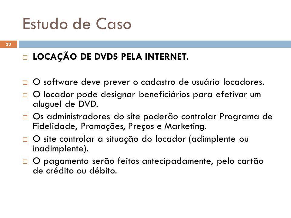 Estudo de Caso 23  LOCAÇÃO DE DVDS PELA INTERNET.  O software deve prever o cadastro de usuário locadores.  O locador pode designar beneficiários p