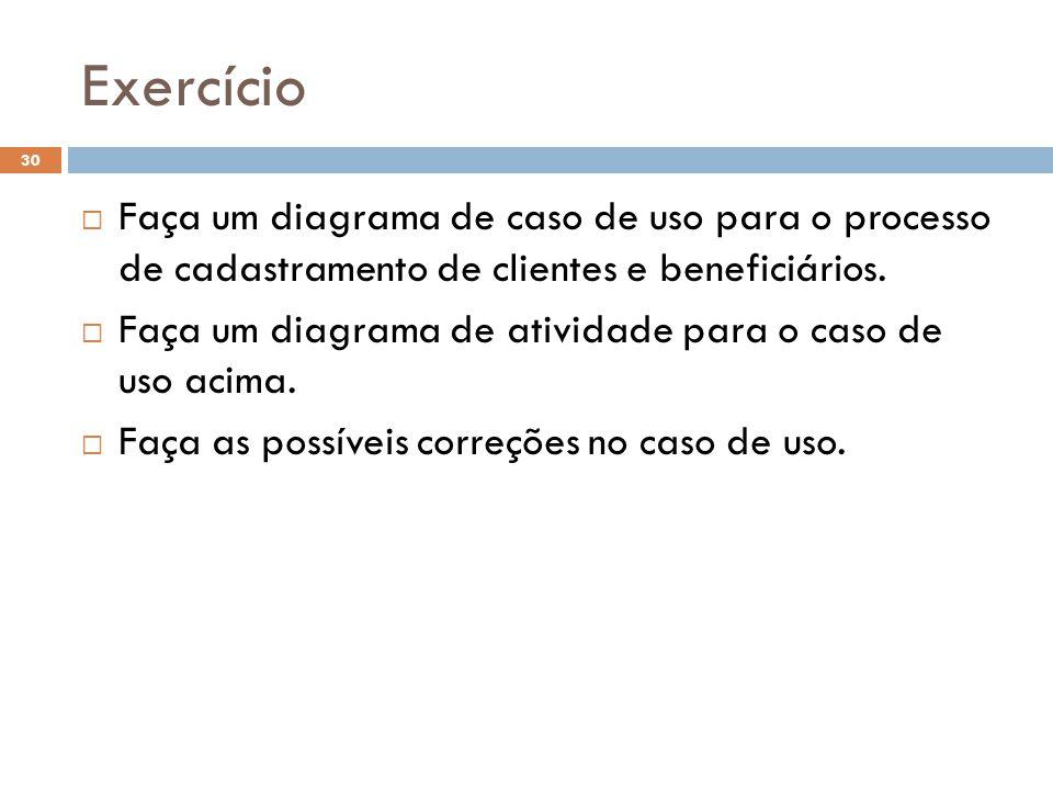Exercício 30  Faça um diagrama de caso de uso para o processo de cadastramento de clientes e beneficiários.  Faça um diagrama de atividade para o ca