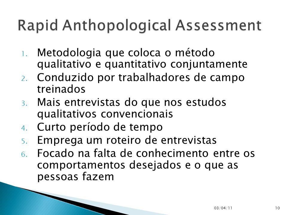 1. Metodologia que coloca o método qualitativo e quantitativo conjuntamente 2. Conduzido por trabalhadores de campo treinados 3. Mais entrevistas do q