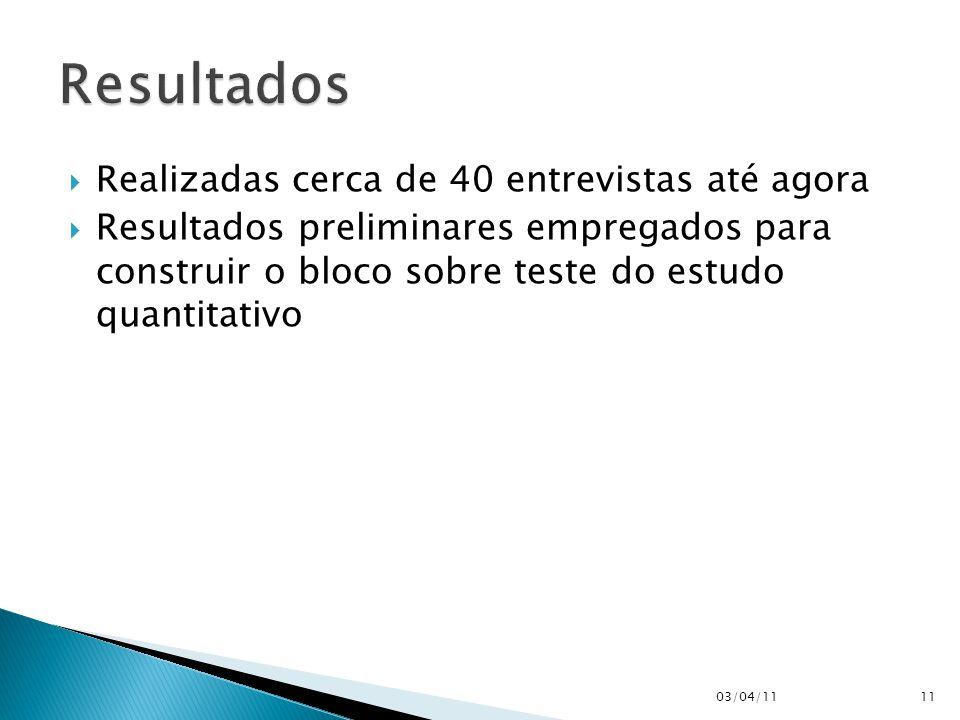  Realizadas cerca de 40 entrevistas até agora  Resultados preliminares empregados para construir o bloco sobre teste do estudo quantitativo 03/04/11