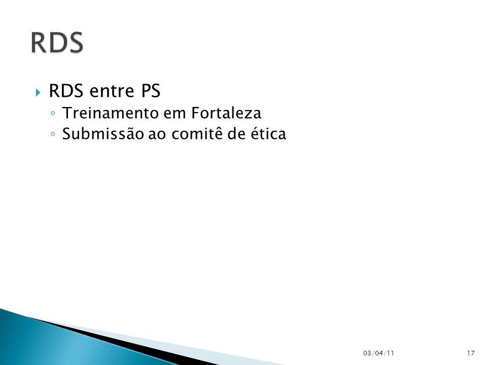  RDS entre PS ◦ Treinamento em Fortaleza ◦ Submissão ao comitê de ética 03/04/1117