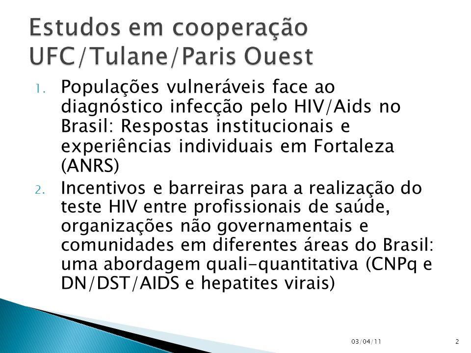 1. Populações vulneráveis face ao diagnóstico infecção pelo HIV/Aids no Brasil: Respostas institucionais e experiências individuais em Fortaleza (ANRS