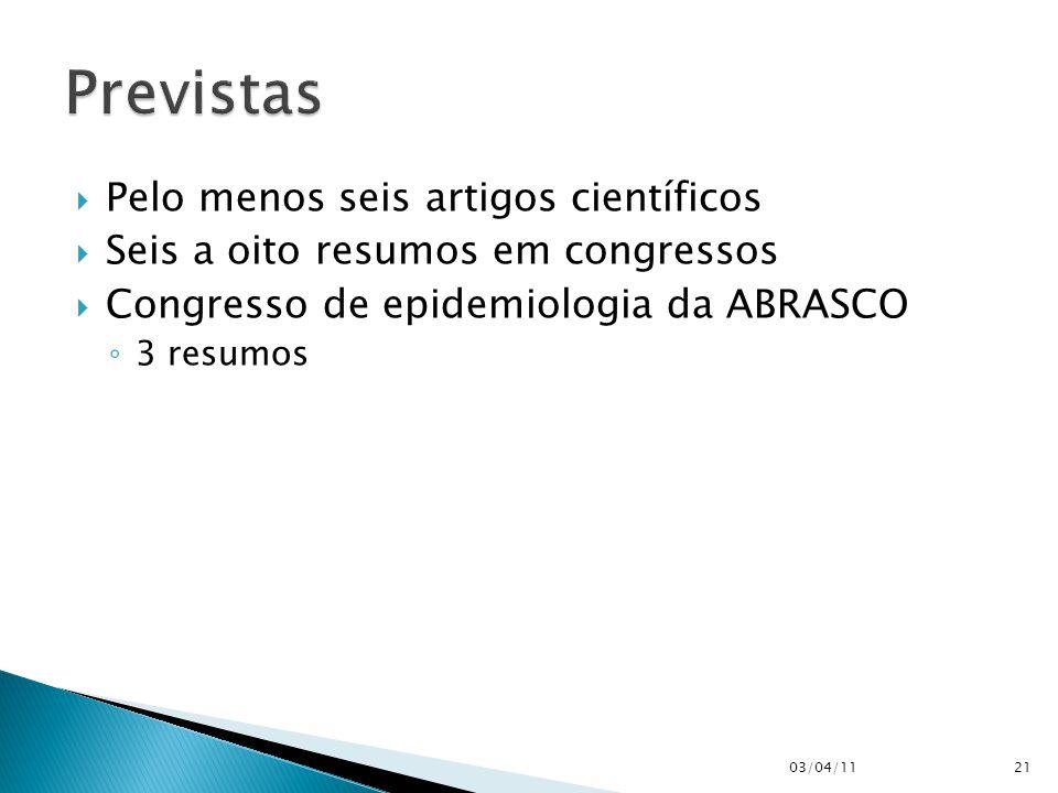  Pelo menos seis artigos científicos  Seis a oito resumos em congressos  Congresso de epidemiologia da ABRASCO ◦ 3 resumos 03/04/1121