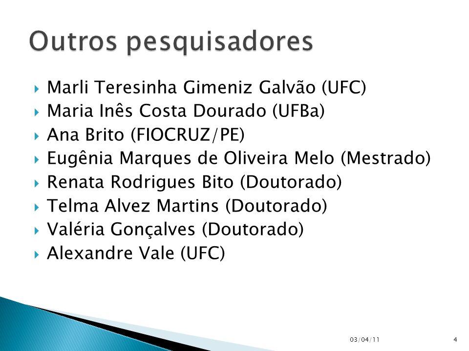  Marli Teresinha Gimeniz Galvão (UFC)  Maria Inês Costa Dourado (UFBa)  Ana Brito (FIOCRUZ/PE)  Eugênia Marques de Oliveira Melo (Mestrado)  Renata Rodrigues Bito (Doutorado)  Telma Alvez Martins (Doutorado)  Valéria Gonçalves (Doutorado)  Alexandre Vale (UFC) 03/04/114